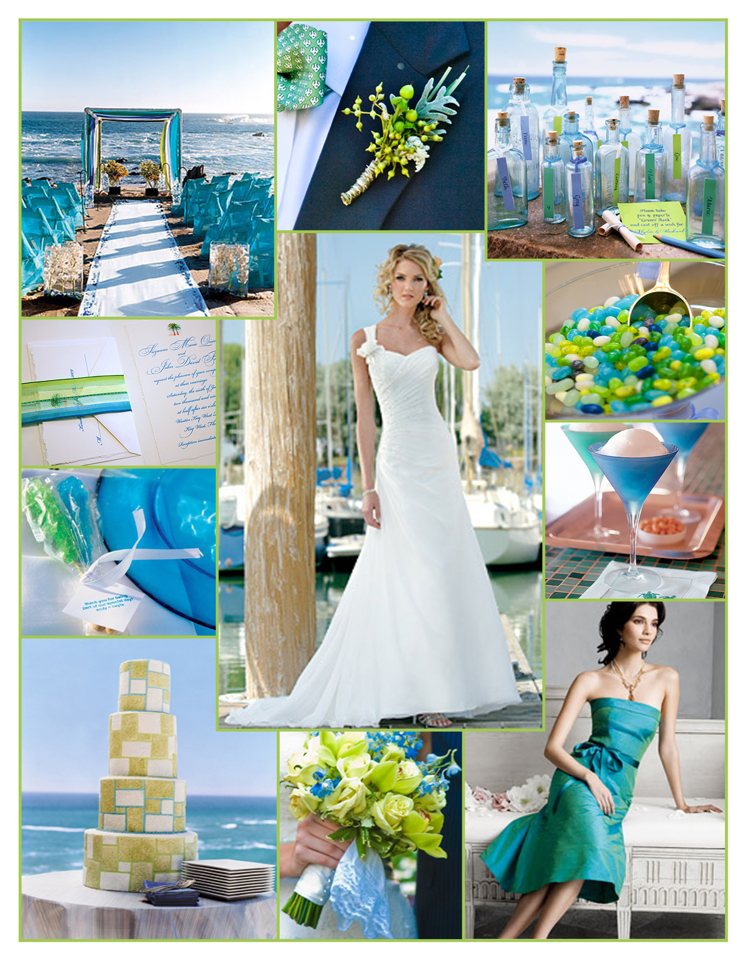 Inspiration, blue, green, Lime, Board, Seaside, Jim hjelm occasions, Destinations by maggie sottero