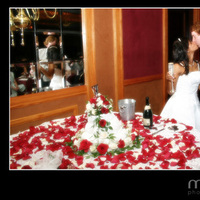 Reception, Flowers & Decor, Cakes, white, ivory, red, cake, Flowers, Toast, Champagne, llc, Mirror, Muse 10 photography