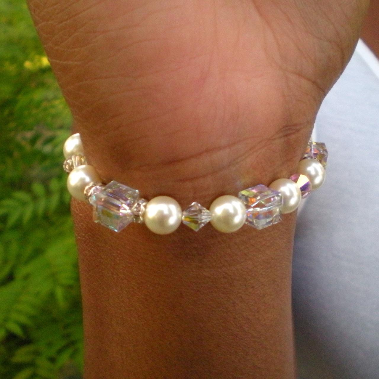 Jewelry, Bridesmaids, Bridesmaids Dresses, Fashion, white, silver, Bracelets, Crystal, Bracelet, Swarovski, Bead, Pearl, Dana saylor designs, Cube, Clasp, Silvertone