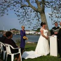 Ceremony, Inspiration, Flowers & Decor, white, purple, black, Beach, Ceremony Flowers, Flowers, Beach Wedding Flowers & Decor, Ocean, Water, Tree, Board, Landscape, River, Art, Museum, Ernest adams, justice of the peace