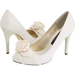 white, ivory, Wedding, Bridal, Rosette, Zappos, Nina