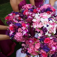 Bridesmaids, Bridesmaids Dresses, Fashion, white, pink, red, purple, Palomino floral designs inc
