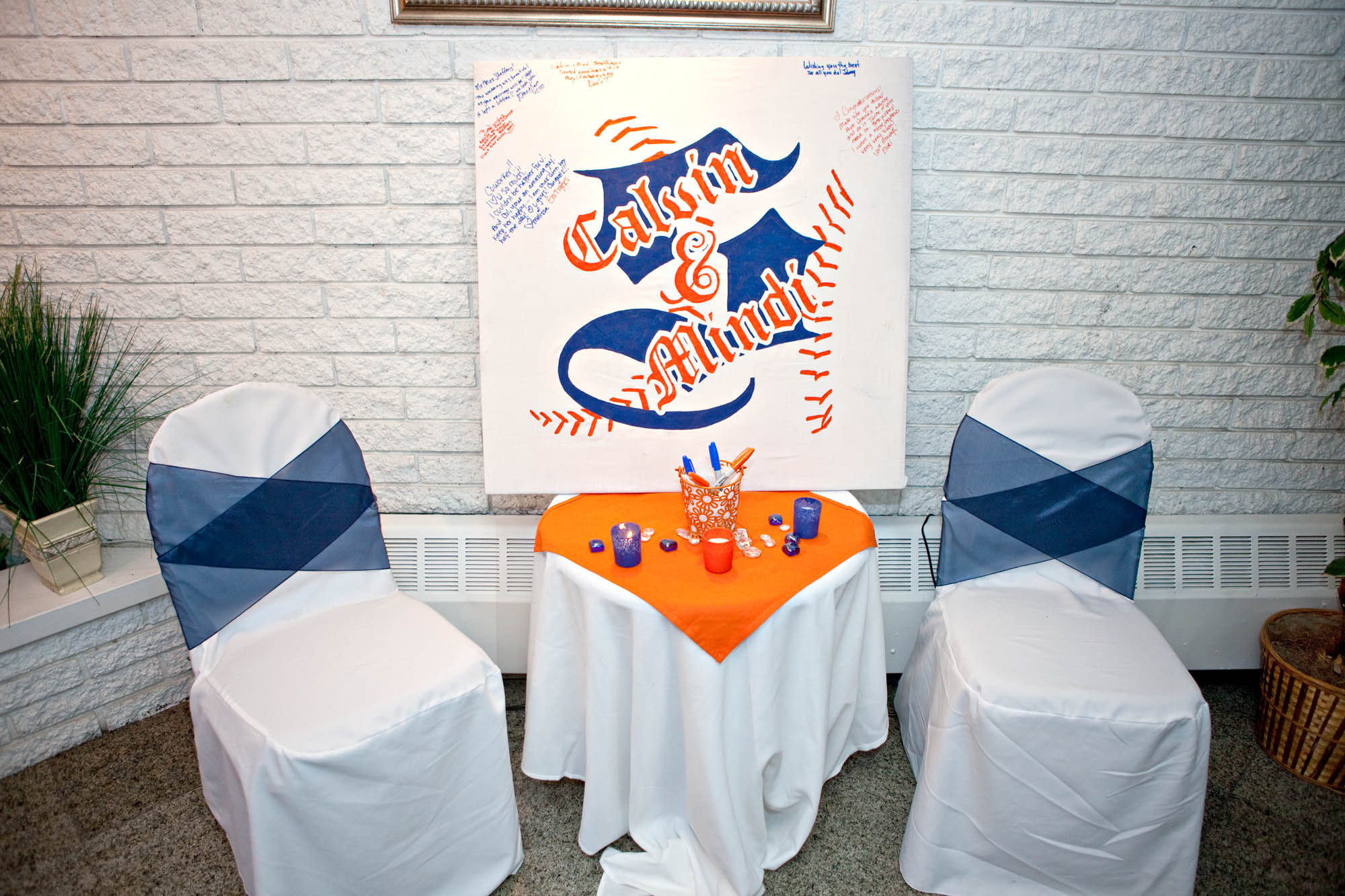 Reception, Flowers & Decor, orange, blue, Monogram, Book, Guest