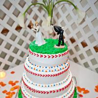 DIY, Cakes, white, orange, blue, cake, Baseball