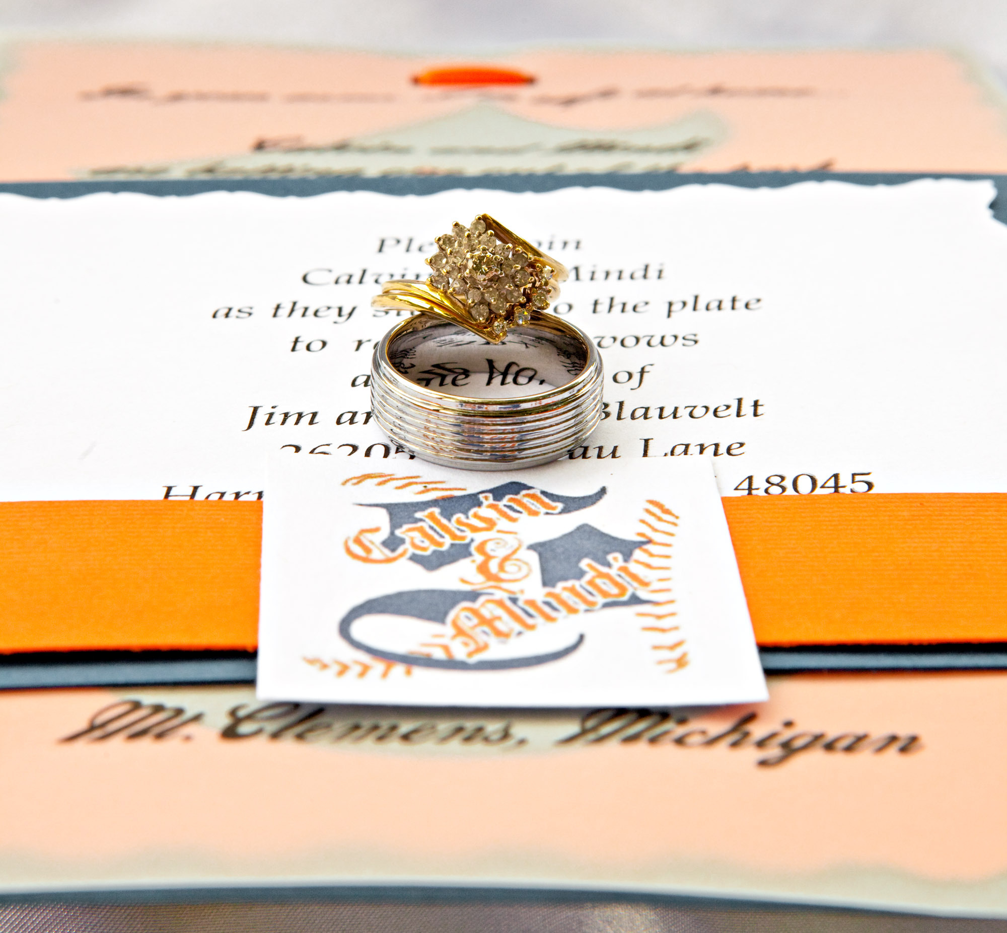 Jewelry, Stationery, orange, blue, Invitations