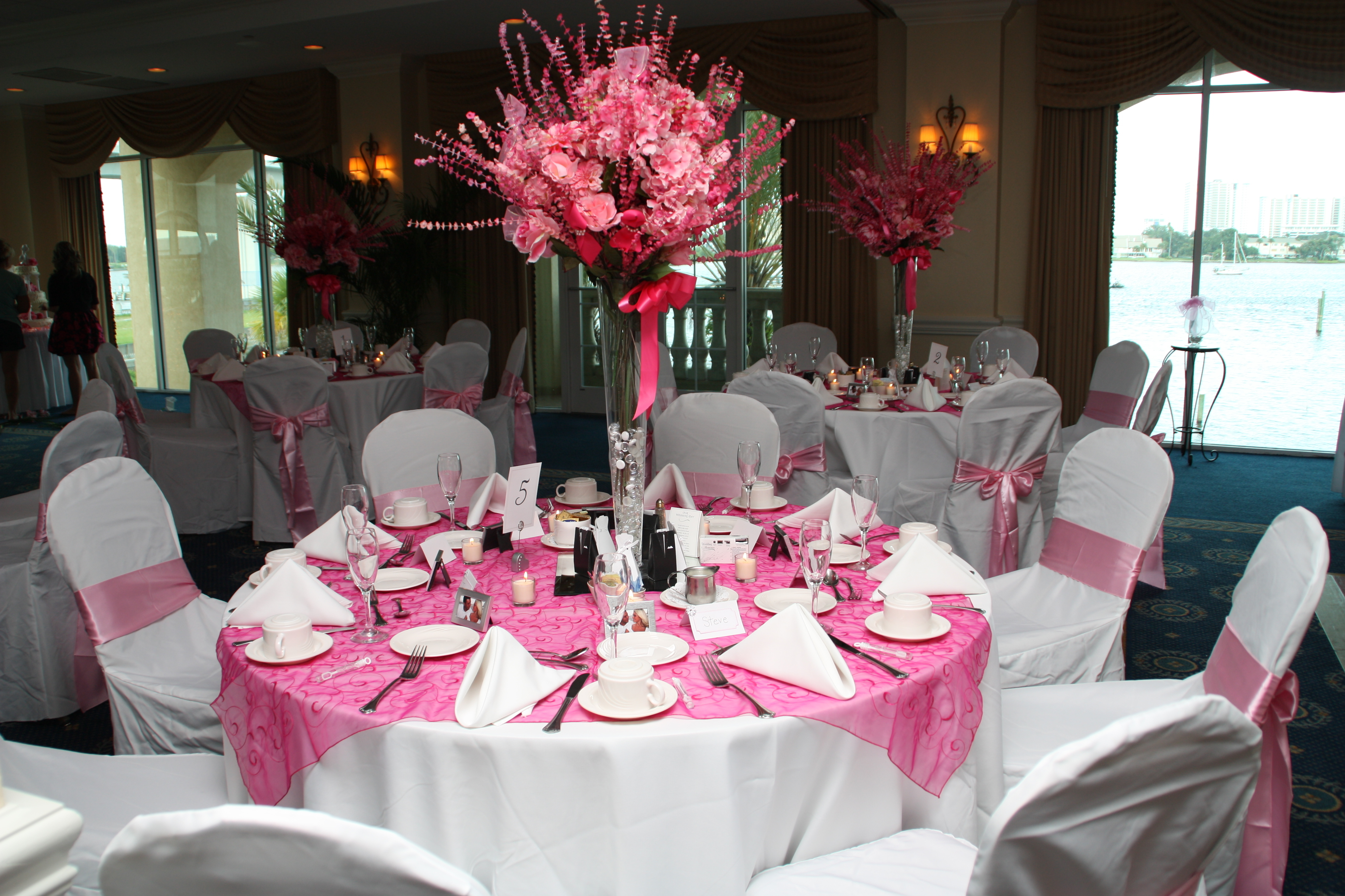 Inspiration, Reception, Flowers & Decor, pink, Centerpieces, Tables & Seating, Centerpiece, Table, Vase, Board, Chair, Trumpet, Tables, Cloth, Covers, Fuschia, Organza, Overlays, Embroidered, Lyndsey roberts photography
