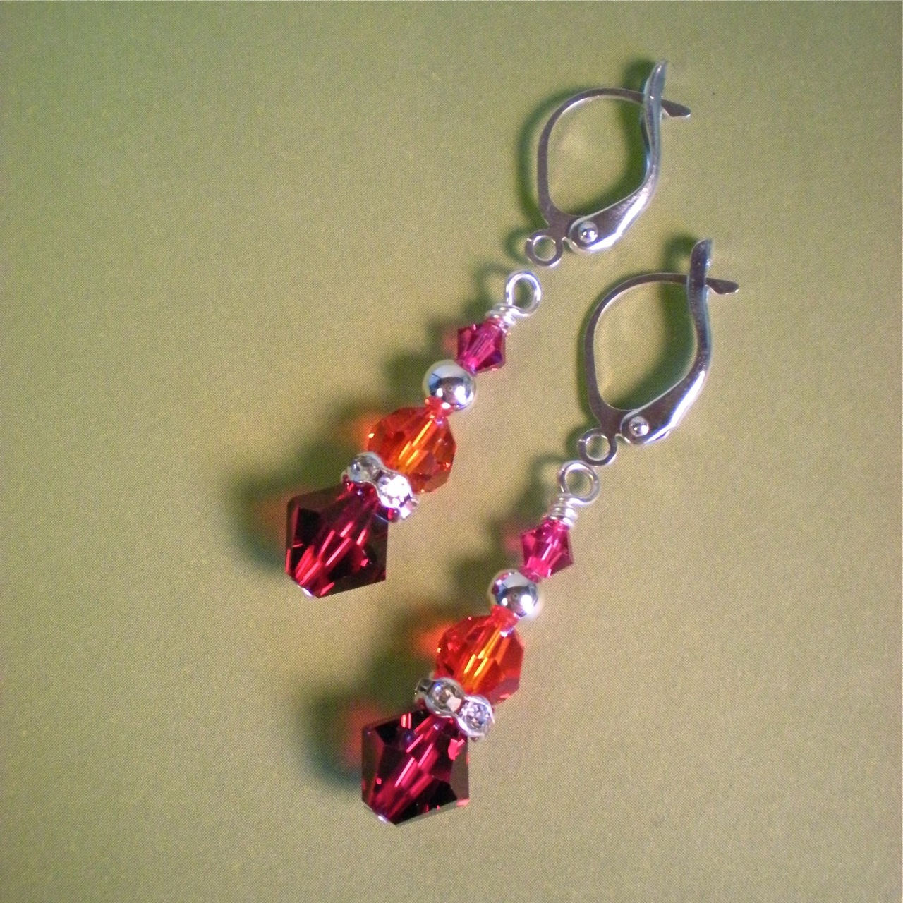Jewelry, Bridesmaids, Bridesmaids Dresses, Fashion, orange, pink, silver, Earrings, Bridesmaid, Crystal, Swarovski, Fuchsia, Graduated, Ruby, Fireopal