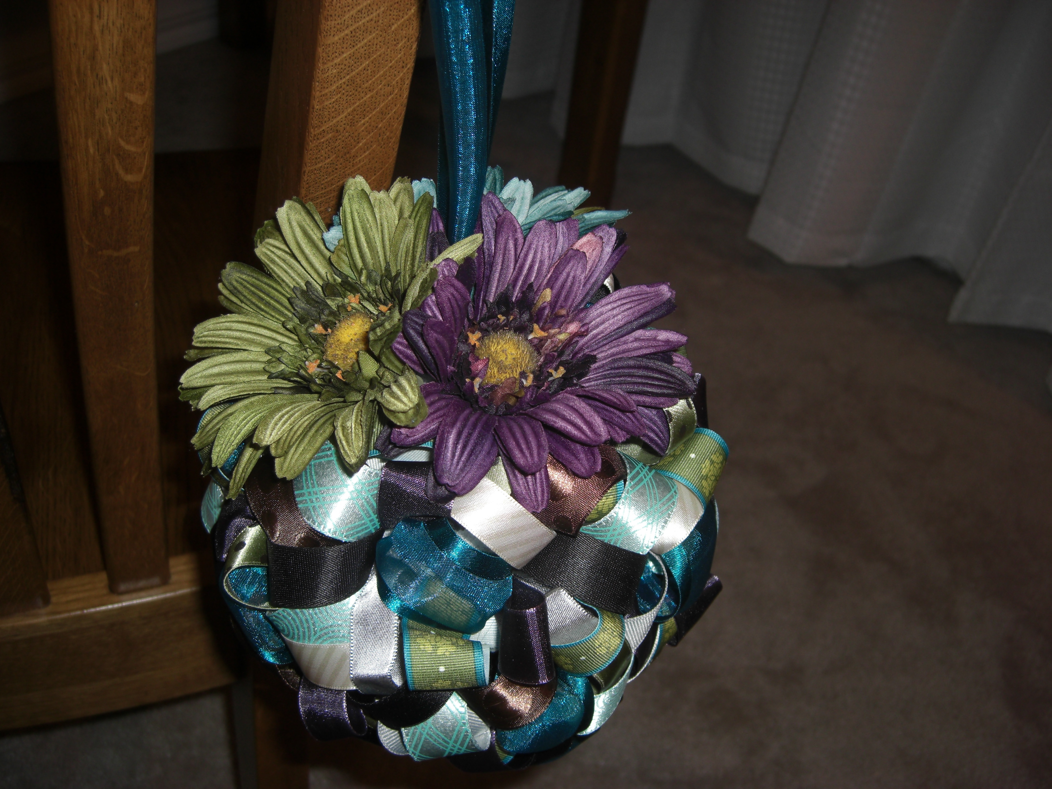 Ceremony, DIY, Reception, Flowers & Decor, purple, blue, green, Ceremony Flowers, Flowers, Ribbon, Decorations, Pomanders