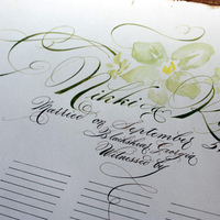 Reception, Flowers & Decor, Calligraphy, white, yellow, orange, pink, red, purple, blue, green, brown, black, silver, gold, Book, Guest, Certificate, Handwriting, E danae calligraphy, Quacker wedding