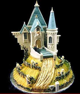 Cakes, blue, green, gold, cake