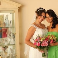 Beauty, Ceremony, Flowers & Decor, Bridesmaids, Bridesmaids Dresses, Wedding Dresses, Fashion, white, pink, green, silver, dress, Makeup, Ceremony Flowers, Bridesmaid Bouquets, Flowers, Hair, Airbrush, My cinderellas dream - nj bridal hair and make up specialists - on location, Flower Wedding Dresses
