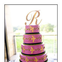 Reception, Flowers & Decor, Cakes, yellow, pink, gold, cake, Sms photography