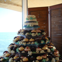 Cakes, white, blue, brown, cake, Cupcakes, Cupcake, Dots, Tower