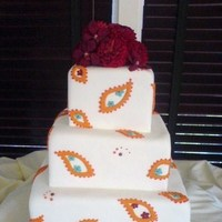 Flowers & Decor, Cakes, orange, cake, Square Wedding Cakes, Square, Flowers, Paisley, Dahlias