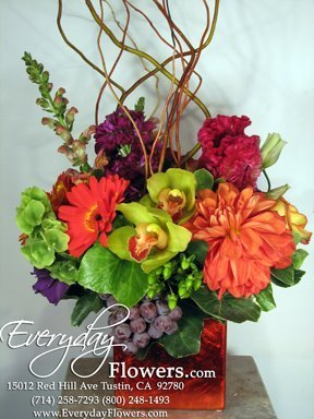 Flowers & Decor, yellow, orange, red, purple, green, Flowers