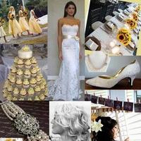 Beauty, Inspiration, Reception, Flowers & Decor, Jewelry, Bridesmaids, Bridesmaids Dresses, Wedding Dresses, Vintage Wedding Dresses, Cakes, Fashion, white, yellow, cake, dress, Bridesmaid Bouquets, Vintage, Vintage Wedding Cakes, Flowers, Vintage Wedding Flowers & Decor, Hair, Board, Sunflower, Flower Wedding Dresses