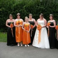 Flowers & Decor, Bridesmaids, Bridesmaids Dresses, Wedding Dresses, Fashion, orange, black, dress, Bride Bouquets, Bridesmaid Bouquets, Bride, Flowers, Flower Wedding Dresses