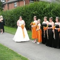 Flowers & Decor, Bridesmaids, Bridesmaids Dresses, Fashion, orange, black, Bridesmaid Bouquets, Flowers, Flower Wedding Dresses
