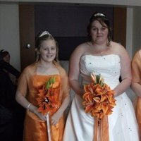 Flowers & Decor, Bridesmaids, Bridesmaids Dresses, Wedding Dresses, Fashion, orange, dress, Bride Bouquets, Bridesmaid Bouquets, Bride, Flowers, Flower Wedding Dresses