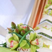 Flowers & Decor, Cakes, white, green, black, cake, Flowers, Bakery, Torrance, Damask, Trefethen