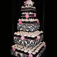 Reception, Flowers & Decor, Cakes, black, cake, Tree, Damask, Cup