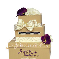 Inspiration, Reception, Flowers & Decor, Stationery, Cakes, ivory, purple, gold, cake, Invitations, Flowers, Roses, Wedding, Calla, Board, Box, Envelope, Card, Money, Holder, Lillies, Plum, For the modern bride - we think outside the, Boxcustom