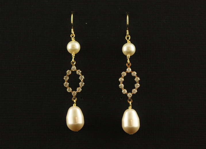 Jewelry, white, ivory, gold, Earrings, Elegant, Crystal, Cream, Sparkle, Teardrop, Rhinestone, Handcrafted, Plumb crazy