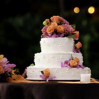 Reception, Flowers & Decor, Cakes, orange, pink, cake, Flowers, Serendipity wedding event planning
