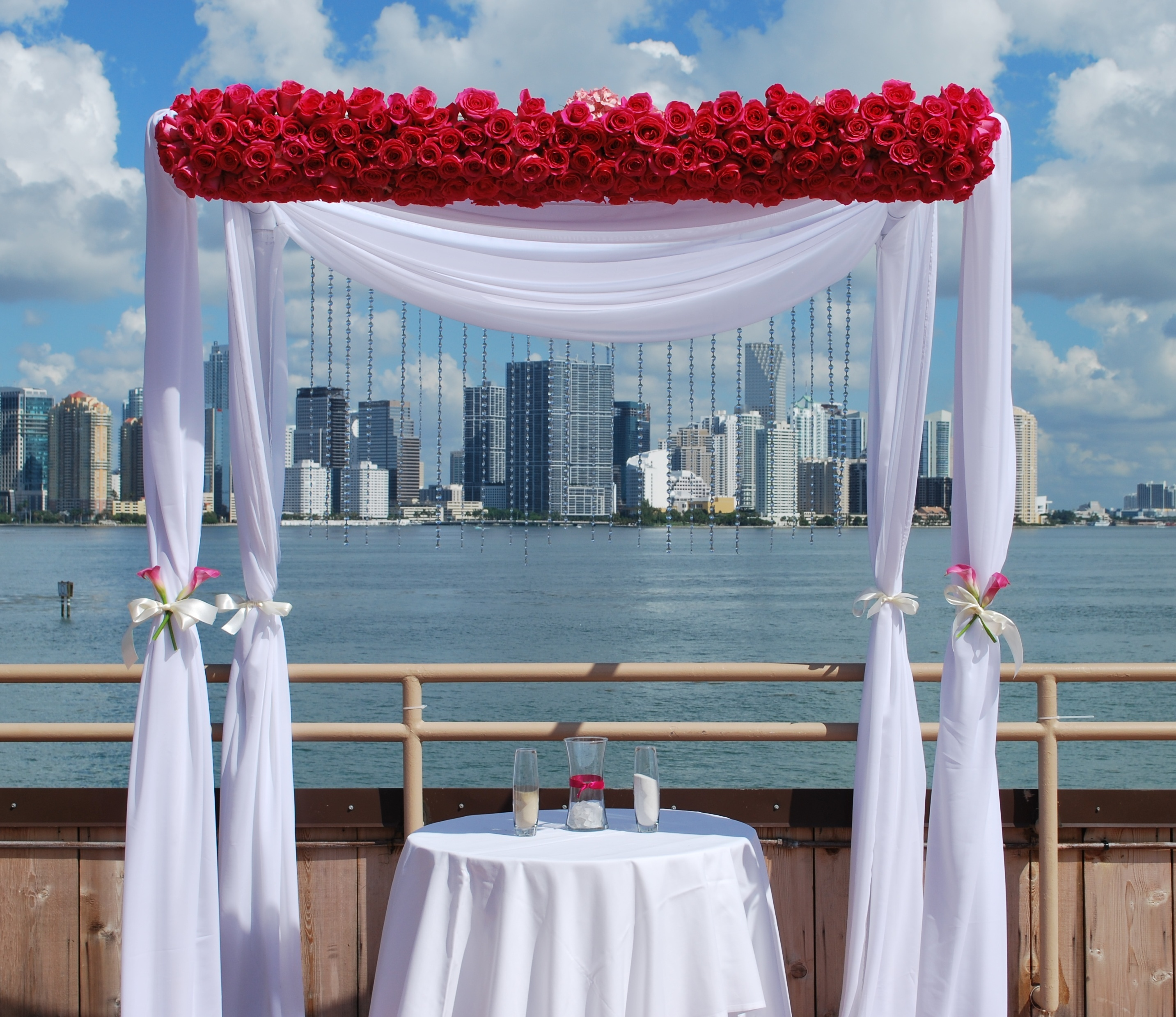 Ceremony, Reception, Flowers & Decor, pink, Roses, Rose, Chuppah, Huppa, Chiffon, Chuppa, Flowers by vivian colls, Hotpink