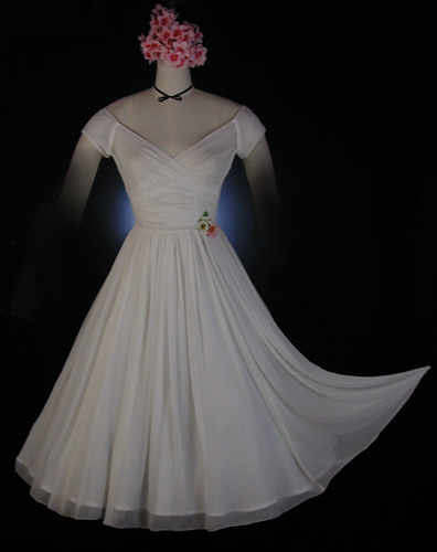 Wedding Dresses, Fashion, white, dress, Wedding, Short, Chiffon, Retro, Silk, Tea-length, 50s, Vintage-inspired, Whirlingturban, Short Wedding Dresses, Chiffon Wedding Dresses, Silk Wedding Dresses