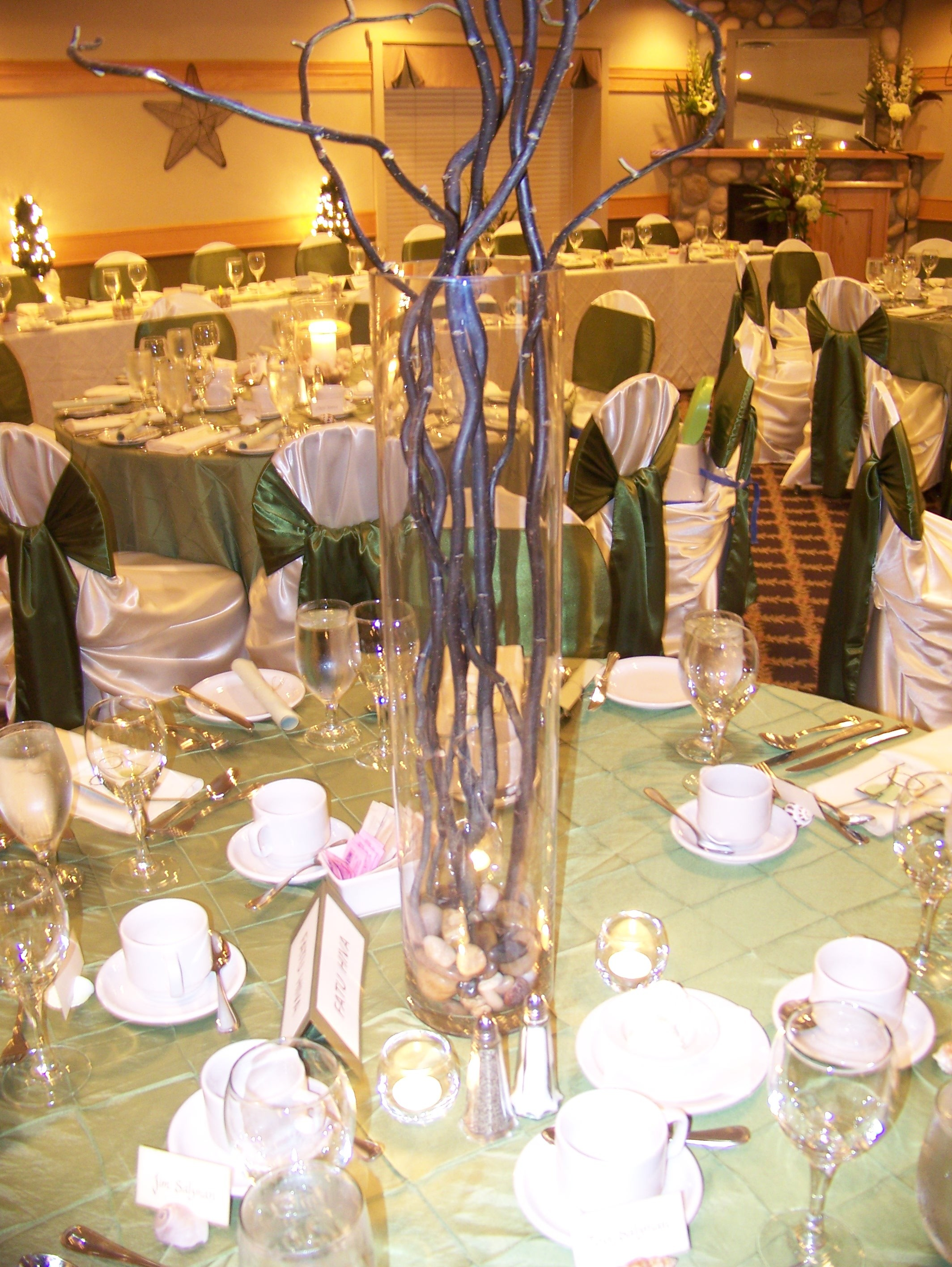 Reception, Flowers & Decor, Decor, ivory, green, Centerpieces, Centerpiece, Linens, Watkins event decor