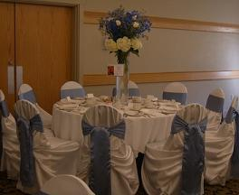 Reception, white, Decor, blue, Chair, Linens, Runners, Covers, Watkins event decor, Tablecloths, Decorating, Flowers & Decor