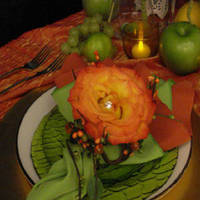 Reception, Flowers & Decor, Registry, orange, green, gold, Place Settings, Flowers, Table, Place, Decorations, Plates, Vivid expressions llc