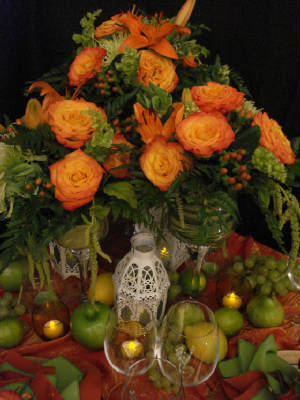 Reception, Flowers & Decor, orange, green, gold, Centerpieces, Flowers, Table, Vivid expressions llc