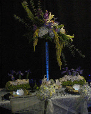 Reception, Flowers & Decor, purple, blue, green, silver, Centerpieces, Flowers, Centerpiece, Table, Design, Linen, Decorations, Vivid expressions llc