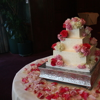 Reception, Flowers & Decor, Cakes, white, pink, green, silver, cake, Flowers, Sweet lady jane