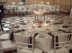 Reception, Flowers & Decor, white, red, black, silver, Centerpieces, Candles, Flowers, Table, Crystal, Rentals, Decorations, Dancefloor, Vivid expressions llc