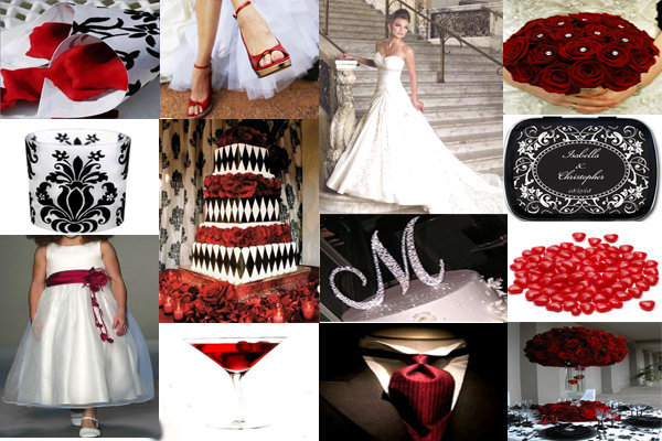 Beauty, Ceremony, Inspiration, Reception, Flowers & Decor, Jewelry, Bridesmaids, Bridesmaids Dresses, Wedding Dresses, Cakes, Fashion, white, red, black, cake, dress, Ceremony Flowers, Bridesmaid Bouquets, Flowers, Hair, Board, Flower Wedding Dresses