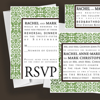 Stationery, green, brown, invitation, Modern, Modern Wedding Invitations, Invitations, Personalize, Text, Anna rae custom designs