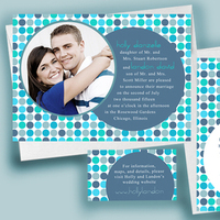 blue, Invitations, Modern, invitation, Candy, Photo, Stationary, Circles, Rsvp, Picture, Personalize, Save the date, Funky, Non-traditional, Anna rae custom designs, Stationery, Modern Wedding Invitations