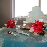Inspiration, Reception, Flowers & Decor, Cakes, white, pink, blue, green, silver, cake, Flowers, Board, Coast couture