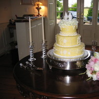 Inspiration, Reception, Flowers & Decor, Cakes, white, yellow, pink, purple, green, silver, cake, Flowers, Board, Coast couture