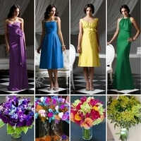 Flowers & Decor, Bridesmaids, Bridesmaids Dresses, Fashion, yellow, pink, purple, blue, green, Bridesmaid Bouquets, Flowers, Flower Wedding Dresses