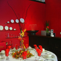 Inspiration, Flowers & Decor, orange, red, gold, Tables & Seating, Silverware, Centerpiece, Glassware, Board, Linens, China, Tables, Stemware, Celebrations party equipment rentals