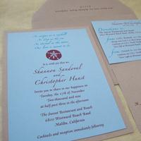 Stationery, blue, brown, invitation, Invitations, Ocean, Invite, Tan, Sea, Papercake designs, Sand dollar