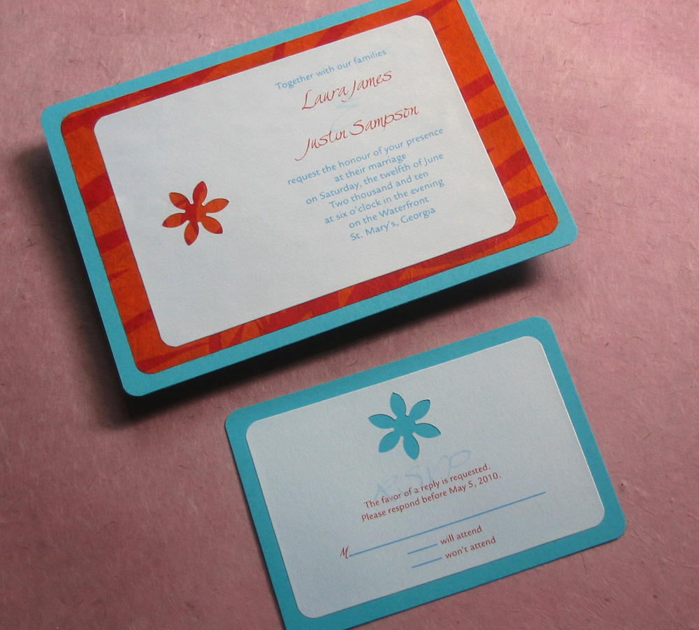 Flowers & Decor, Stationery, orange, blue, Garden, Invitations, Outdoor, Daisy, Palm, Handmade, Layered