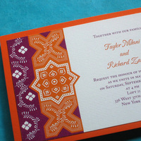 Flowers & Decor, Stationery, white, orange, pink, purple, Cultural, Invitations, Flowers, Floral, Indian, Persian, Ethnic, Moroccan, Kemba celebrations