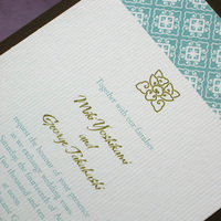 Stationery, blue, green, brown, Cultural, Invitations, Asian, Unique, Japanese, Ethnic, Handmade, Layered, Kemba celebrations