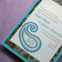 Stationery, blue, brown, gold, Cultural, Invitations, Monogram, Unique, Paisley, Indian, Ethnic, Handmade, Layered, Kemba celebrations