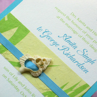 Stationery, white, blue, green, Beach, Invitations, Seashell, Palm, Handmade, Layered, Seahorse, Kemba celebrations